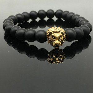 Other - Black Beads Gold Lion Head Stretch Bracelet